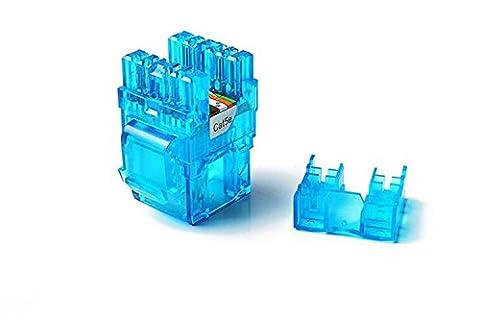 CAT5e RJ45 Transparent Unshielded Keystone Jacks Modul für Faceplate & Wandbox & Patch Panel 10pcs / pack (Blue)