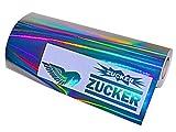 (EUR 19,49 / m²) Plottfolie Metall Flakes Silver Oilslick Glitter Auto Effekt Folie Hologramm (Glanz Silber Hologramm, 61)