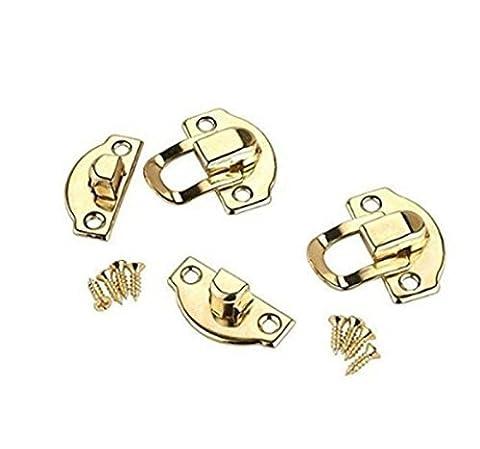 rzdeal Jewelry Box Latch Haspe Pad Brust Schloss Haken Scharnier Messing Tone 1Set