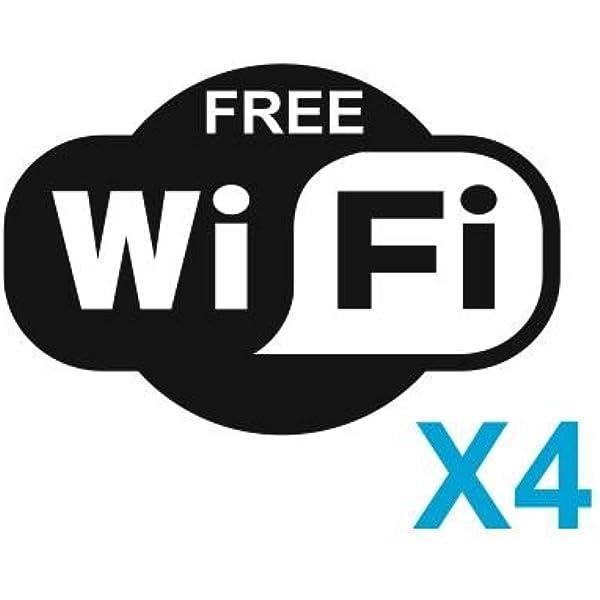 4 X Free Wifi Signs Symbols Stickers Decals Internet Cafe Bar Club Office Shop 15cm X 10cm Black Amazon Co Uk Kitchen Home