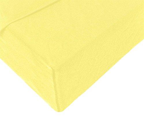 Double Jersey - Spannbettlaken 100% Baumwolle Jersey-Stretch bettlaken, Ultra Weich und Bügelfrei mit bis zu 30cm Stehghöhe, 160x200x30 Gelb - 4