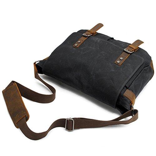 468d6cbbfb Hakgy Unisexe Sacs Messenger Toile Cuir Bandoulière Voyage sacoche sac à  bandoulière pour ordinateurs portables 35,6 cm, gris
