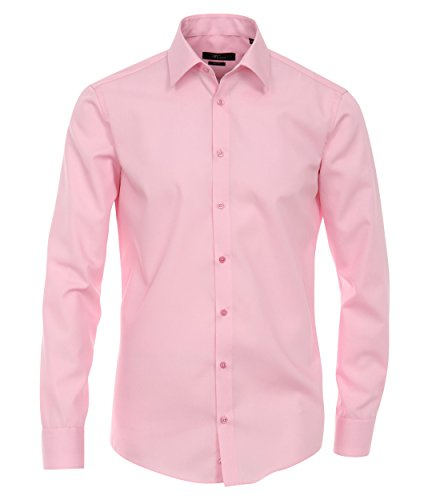 Michaelax-Fashion-Trade - Chemise casual - Uni - Col Chemise Classique - Manches Longues - Homme Rose - Rosa (411)