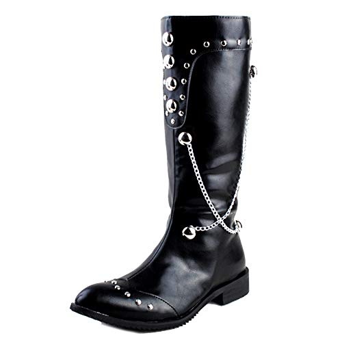SHANLY Mode Rivet Kalb Stiefel Herren Cosplay PU Leder Film Kostüm Knight Boot Spitz Kette Wellington Boot Halloween,Black-41