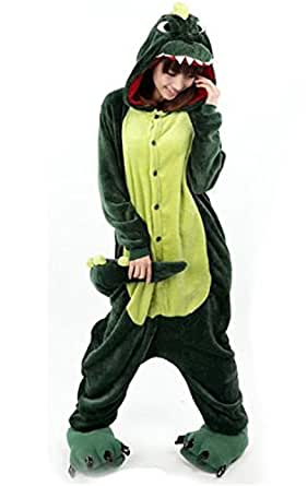 LATH.PIN Jumpsuit Tier Karton Fasching Halloween Kostüm Sleepsuit Cosplay Fleece-Overall Pyjama Schlafanzug Erwachsene Unisex Lounge Nachtwäsche S/M/L/XL (S, Dino)