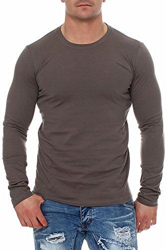 Herren Langarmshirt Longsleeve Rundhals S M L XL 2XL 3XL, Größe:L, Farbe:Anthrazit Lange Ärmel Sweatshirt