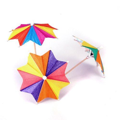Romote Ca. 145pcs der Acht-quadratische Papier-Cocktail-Getränk-Sticks Sonnenschirm-Regenschirm Picks