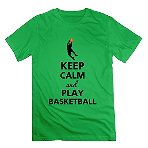 XJ-cool Keep Calm And Play Basketball Men's Short Sleeve Tshirts ForestGreen Size XL