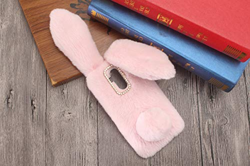 KeKeYM Mate 20 Lite Case Kaninchen, Netter Hülle für Huawei Mate 20 Lite, Plüsch Bunny Ears Spielzeug 3D Luxus Bling Glänzender Bowknot Wolle Hülle Dünne für Hua wei Mate 20 Lite 2018 - Rosa