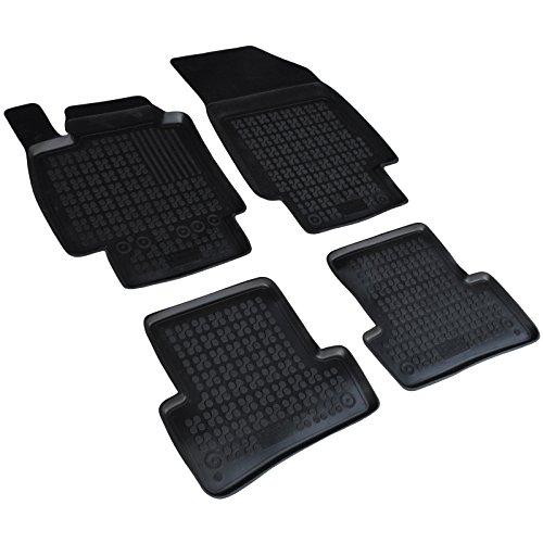 AME Auto-Gummimatten Fußmatten in schwarz mit Schmutzrand, Geruch-vermindert und passgenau mit Befestigungskit 201906RG