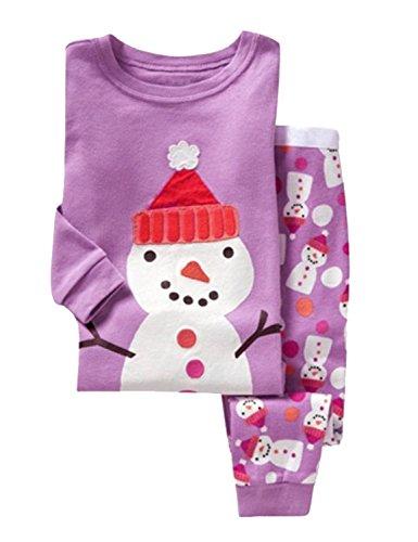 Little Hand Mädchen Pyjama Kinder Zweiteilige Schlafanzug Lang Tier Baumwolle Weihnachten Kinder 104 110 116 122 128 (12 Mädchen Größe Weihnachts-schlafanzug,)