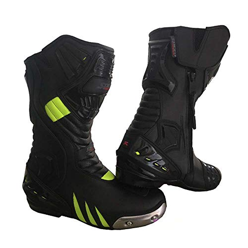 SPEED MAXX LTD HIVIZ & Black High Tech, Stivali da Moto da Corsa, in Pelle, da Uomo, con Certificazione CE