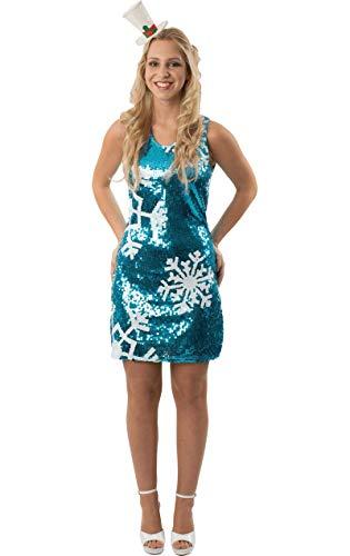 Elsa Teen Kostüm - Damen Blau Pailletten Gefroren Schneeflocke Weihnachten Mini Kleid Large/Extra Large