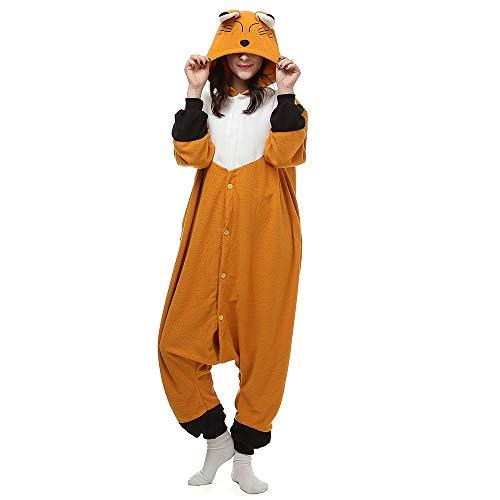 Silver_river Erwachsene Unisex Pyjama Fuchs Jumpsuit Nachtwäsche Halloween Karneval Fasching Cosplay Kostüm, Lty32brown, L(170cm-178cm)