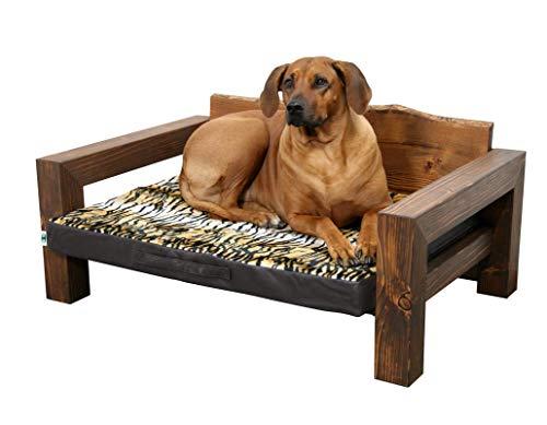 Jagdfallen Steingraf Hundebett Holz Tromsö 72cm x 108cm x 40cm Hundesofa Holz Hundeliege Holz Hundecouch Holz mit Matratze jedes Bett EIN Unikat #dunkel#