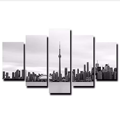 xzfddn Toronto City View Wandkunst Malerei 5 Panels Seascape HD Drucke und Poster Weltberühmte Gebäude Bilder Für Wohnzimmer Dekor