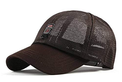 Damen Sommer Mesh Basecap Snapback Caps Herren Outdoor Sport Kappe Trucker Cap (Braun)