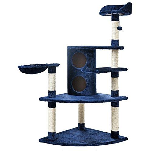 Pets Tunnel Katzenspielzeug-Haustier-Katzen-Stratcher-Baum-Möbel-Katzen-Eigentumswohnung-Tätigkeits-Haus dunkelblaues 65 * 65 * 138cm