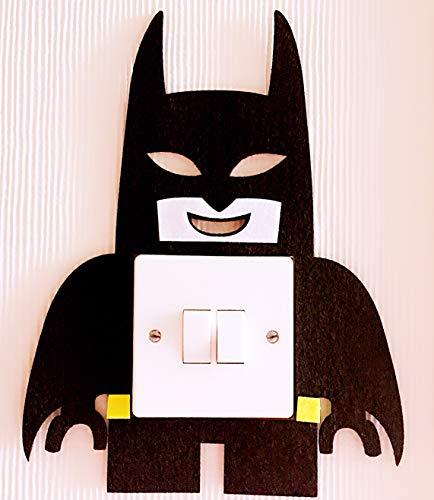 Super Cool 3d Lego Batman Interrupteur mural autocollant, indispensable pour tous les fans de Batman. Premium Feutre de qualité Matière. pour enfants garçons filles Chambre d'enfant Décor. (Noir)
