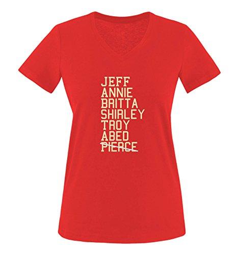 nnie Britta Shirley Troy Abed Pierce - Damen V-Neck T-Shirt - Rot/Beige-Weiss Gr. XL (Annie Roten Kleid)