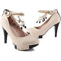 Fashion qualità perline catene tacco alto scarpe donna, Beige, 39