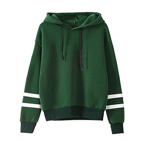 Hemd-Strickjackenhemd ❀❀ JYJM Womens Langarm Hoodie Sweatshirt Pullover mit Kapuze Pullover Tops Bluse (M, Grün) (Jersey Bestickte Sport Shirt)
