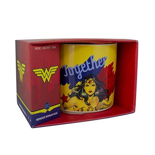 Paladone Wonder Woman Mug | Ideal für Kaffee oder Tee | Keramische Porzellantasse mit der Phrase zusammen steigen wir | Offiziell lizenzierte DC-Comics - Zusammen Tee