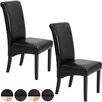 Miadomodo – Silla de comedor de madera y poliuretano de color negro con patas negras en set de 2 piezas