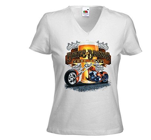 Biker Damen T-Shirt Bikes and Brews weiß Beer Bier Vintage Chopper Weiß