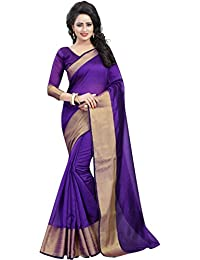 3ee4ae2689 BuyOnn Sarees For Women Latest Design Party Wear Purple Color Cotton Silk  Sarees New Collection Party
