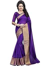 BuyOnn Sarees For Women Latest Design Party Wear Purple Color Cotton Silk Sarees New Collection Party Wear Saree...