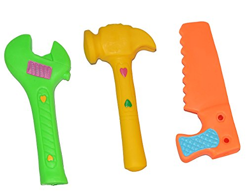 3 TLG. Set Quietscher als  lustiges Werkzeug / Spielwerkzeug  - für Baby - Quietschtier / Figur Quietschfigur Badefiguren / Badetiere - Quietsch / Badewanne..