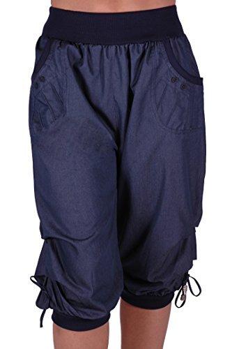 Chicago Damen Capri Crop Shorts Haremshosen der Frauen 3/4 Dreiviertelhose Navy Gr. 42