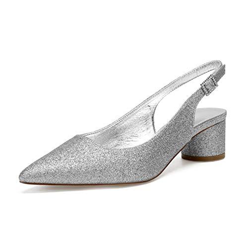 AIMISHOES Spitz Pailletten Dame Abendkleid Schuhe Sandalen Slingback Knöchel Runde Kätzchen Lower Heel Hochzeit Ball Prom Pumps,Silber,41 -