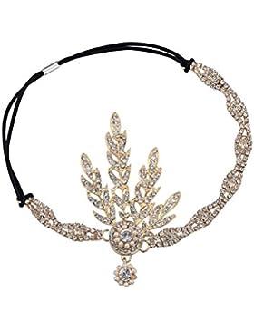 Babeyond® 1920s Stil Blatt-Medaillon Rundes Stirnband mit Perlen Inspiriert von Der Große Gatsby Accessoires für...