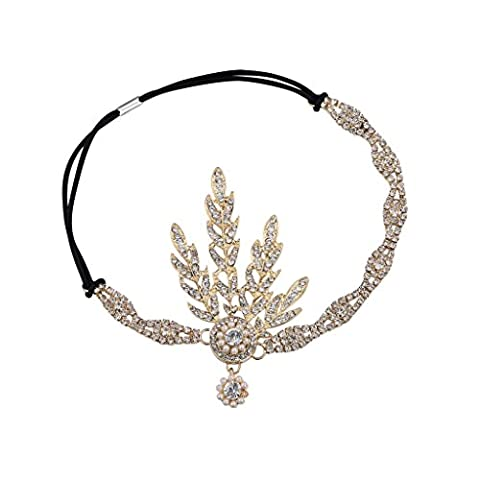 Babeyond Art Deco 1920's Flapper Great Gatsby Inspired Leaf Medallion Pearl Headpiece Tiara ( Gold