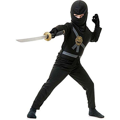 Charades Ninja Master schwarz Kinder Kostüm - Ninjago (Kinder Small (Kostüme Tshirt Ninja)