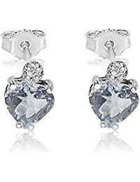 ❤️ Mille Amori Boucles d'Oreilles Femme - Or Blanc 9 carats 375/1000 - Diamants 0.03 carats - Aigue-Marine 2 carats - pour dire je t'aime