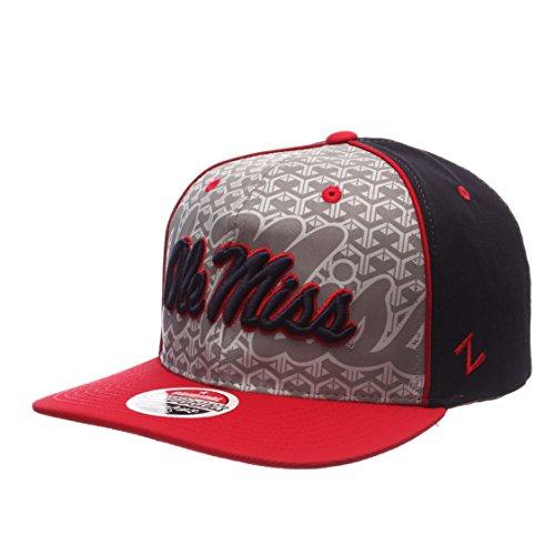 ncaa-mississippi-old-miss-rebels-mens-reflector-snapback-hat-silver-navy-adjustable