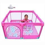 FCXBQ Laufgitter Baby mit Matratze Portable Playard für Kleinkinder, Jungen Mädchen Sicherheit Anti-Kollision Große Kinder Play Yard, Pink