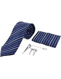 F Fityle Conjunto de 5 Piezas, Corbata de Negocio, Pañuelo de Bolsillo, Gemelos de Camisa, Pinza de Corbata, regalo de Boda para Hombres