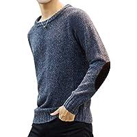 Byqny Hombre Camisa Inferior Casual Suéter de Punto Elegante Sweater Manga Larga