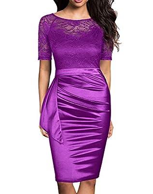 Mmondschein Women's Vintage Lace Short Sleeve Business Pencil Cocktail Dress
