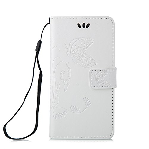 Cozy Hut iPhone 6 Plus / 6S Plus (5,5 Zoll) PU Housse,Slim-Fit Folio Smart Cuir Portefeuille Case Coque Etui pour iPhone 6 Plus / 6S Plus (5,5 Zoll),Fleur de papillon Motif PU Leather Coque Stand Flip blanc