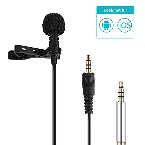 GHB Lavalier Clip-on Kondensator-Mikrofon Omnidirectional Mini Mirkrofon für Iphone, Ipad, Android Handys Film Interviews und Video Recording