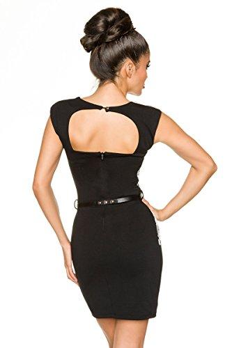 Figurbetontes Partykleid Minikleid Cocktailkleid mit kontrastfarbener  Spitze A134481 schwarz Sw 16