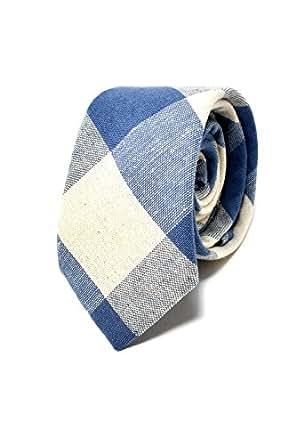 Oxford Collection Cravate Homme à carreaux Bleu Clair et Blanc - 100% en Lin - Classique, Elégante et Moderne - (Idéale pour un cadeau, un mariage, avec un costume, au travail…)