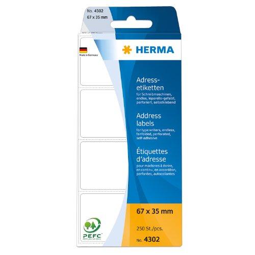 Herma 4302 Adressetiketten endlos für Schreibmaschinen (67 x 35 mm) weiß, 250 Adressaufkleber, Papier matt, selbstklebend, perforiert, leporello-gefalzt