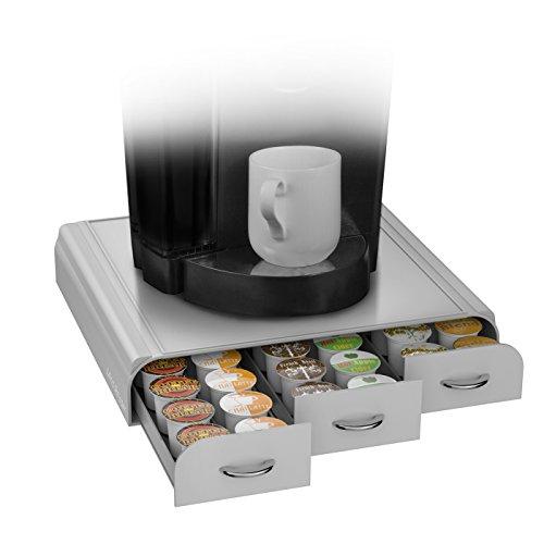 Mind Reader Anchor - Cajón para cápsulas de café, compatible con Keurig (Vue, K-Cups), Nespresso, CBTL/Verismo o Tassimo Para K-Cup, CBTL, Verismo, Dolce Gusto talla única Silver/Grey