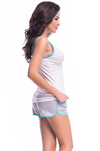 Dn-Nightwear PM.7022 Charmant Et Confortable Pyjama blanc-mynthe
